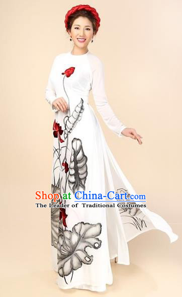 Traditional Top Grade Asian Vietnamese Costumes Classical Hand Painting Cheongsam, Vietnam National Vietnamese Bride Ao Dai Dress for Women