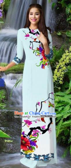 Traditional Top Grade Asian Vietnamese Costumes Classical Light Blue Cheongsam, Vietnam National Printing Ao Dai Dress for Women