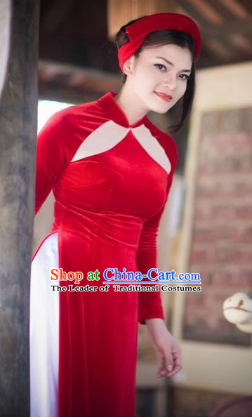 Traditional Top Grade Asian Vietnamese Costumes Classical Red Cheongsam, Vietnam National Vietnamese Bride Pleuche Ao Dai Dress for Women