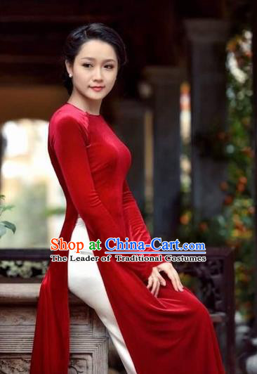 Traditional Top Grade Asian Vietnamese Costumes Classical Red Cheongsam, Vietnam National Vietnamese Bride Ao Dai Dress for Women