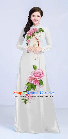 Traditional Top Grade Asian Vietnamese Costumes Classical Printing Flowers Cheongsam Dance Clothing, Vietnam National Vietnamese Bride White Ao Dai Dress for Women