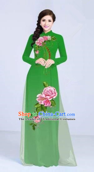Traditional Top Grade Asian Vietnamese Costumes Classical Printing Flowers Cheongsam Dance Clothing, Vietnam National Vietnamese Bride Green Ao Dai Dress for Women