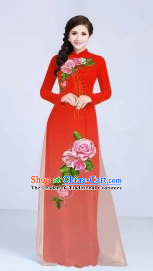 Traditional Top Grade Asian Vietnamese Costumes Classical Printing Flowers Cheongsam Dance Clothing, Vietnam National Vietnamese Bride Red Ao Dai Dress for Women