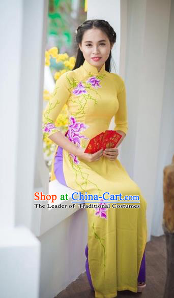Traditional Top Grade Asian Vietnamese Costumes Classical Hand Painting Flowers Cheongsam Dance Clothing, Vietnam National Vietnamese Bride Ao Dai Dress for Women