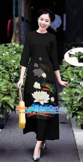 Traditional Top Grade Asian Vietnamese Costumes Classical 3D Printing Flowers Cheongsam Dance Clothing, Vietnam National Vietnamese Black Ao Dai Dress for Women