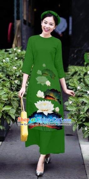 Traditional Top Grade Asian Vietnamese Costumes Classical 3D Printing Flowers Cheongsam Dance Clothing, Vietnam National Vietnamese Green Ao Dai Dress for Women
