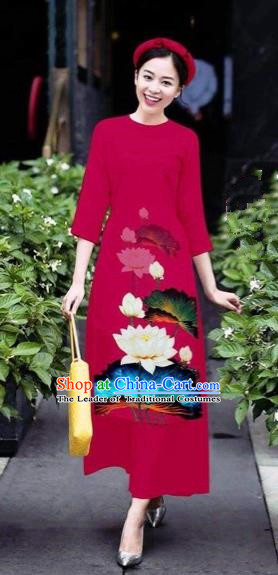 Traditional Top Grade Asian Vietnamese Costumes Classical 3D Printing Flowers Cheongsam Dance Clothing, Vietnam National Vietnamese Wine Red Ao Dai Dress for Women