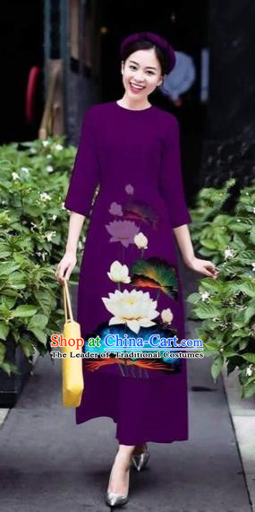 Traditional Top Grade Asian Vietnamese Costumes Classical 3D Printing Flowers Cheongsam Dance Clothing, Vietnam National Vietnamese Purple Ao Dai Dress for Women