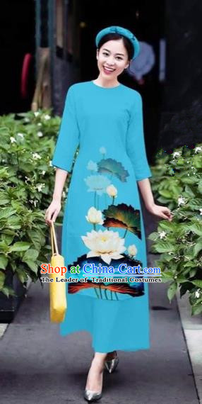 Traditional Top Grade Asian Vietnamese Costumes Classical 3D Printing Flowers Cheongsam Dance Clothing, Vietnam National Vietnamese Blue Ao Dai Dress for Women