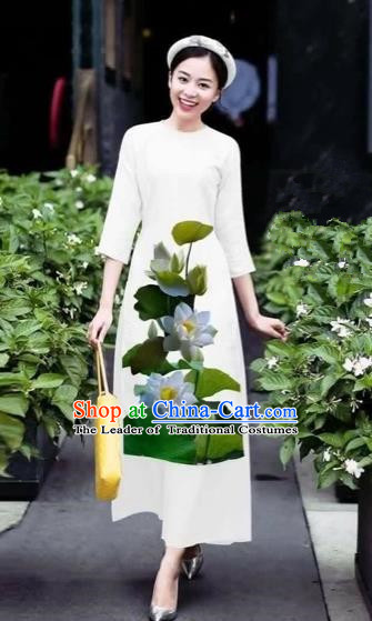 Traditional Top Grade Asian Vietnamese Costumes Classical 3D Printing Lotus Flowers Cheongsam Dance Clothing, Vietnam National Vietnamese White Ao Dai Dress for Women