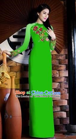 Traditional Top Grade Asian Vietnamese Costumes Classical Printing Toast Wedding Cheongsam, Vietnam National Vietnamese Bride Green Ao Dai Dress for Women