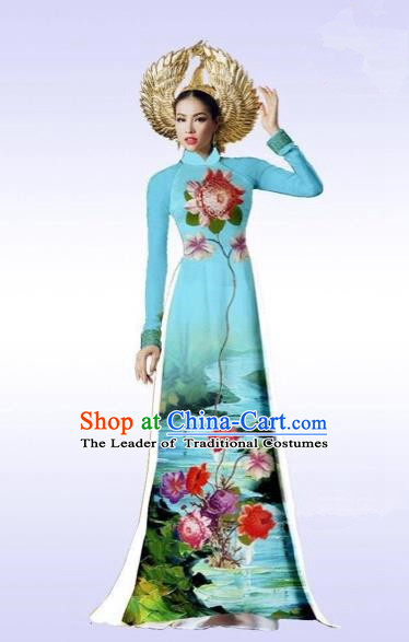 Traditional Top Grade Asian Vietnamese Costumes Classical Landscape Painting Cheongsam, Vietnam National Vietnamese Bride Ao Dai Dress for Women