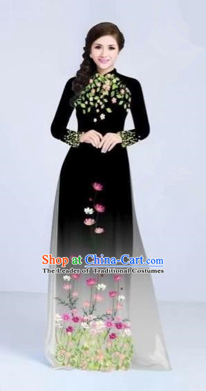 Traditional Top Grade Asian Vietnamese Costumes Classical Painting Flowers Cheongsam, Vietnam National Vietnamese Young Lady Black Ao Dai Dress