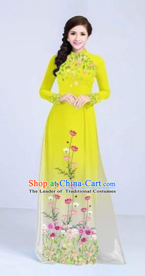 Traditional Top Grade Asian Vietnamese Costumes Classical Painting Flowers Cheongsam, Vietnam National Vietnamese Young Lady Yellow Ao Dai Dress