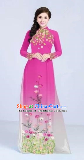 Traditional Top Grade Asian Vietnamese Costumes Classical Painting Flowers Cheongsam, Vietnam National Vietnamese Young Lady Pink Ao Dai Dress