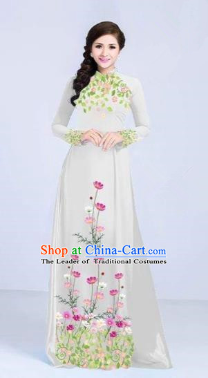 Traditional Top Grade Asian Vietnamese Costumes Classical Painting Flowers Cheongsam, Vietnam National Vietnamese Young Lady White Ao Dai Dress