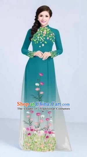 Traditional Top Grade Asian Vietnamese Costumes Classical Painting Flowers Cheongsam, Vietnam National Vietnamese Young Lady Peacock Blue Ao Dai Dress