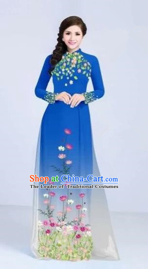 Traditional Top Grade Asian Vietnamese Costumes Classical Painting Flowers Cheongsam, Vietnam National Vietnamese Young Lady Blue Ao Dai Dress