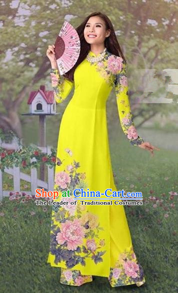 Traditional Top Grade Asian Vietnamese Costumes Classical Painting Cheongsam, Vietnam National Vietnamese Young Lady Ao Dai Dress and Loose Pants Complete Set