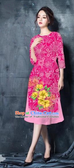 Traditional Top Grade Asian Vietnamese Costumes Classical Painting Short Pink Cheongsam, Vietnam National Vietnamese Young Lady Ao Dai Dress