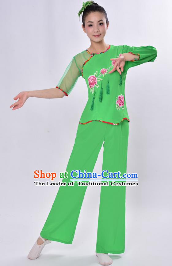 Traditional Chinese Classical Dance Yangge Fan Dancing Costume, Folk Dance Drum Dance Uniforms Yangko Green Clothing Set for Women