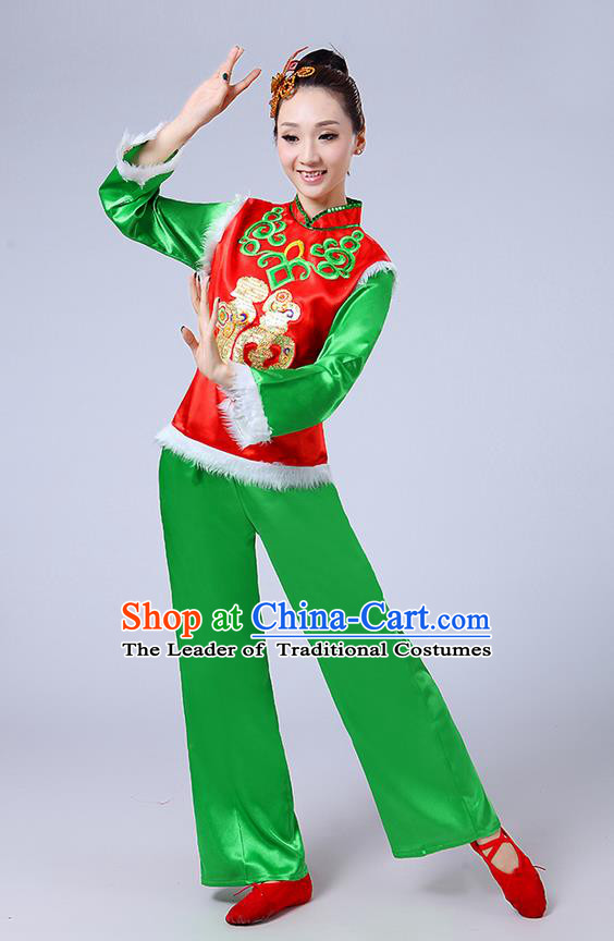 Traditional Chinese Classical Dance Yangge Fan Dancing Costume, Folk Dance Drum Dance Fur Uniforms Yangko Red Blouse and Green Pants for Women
