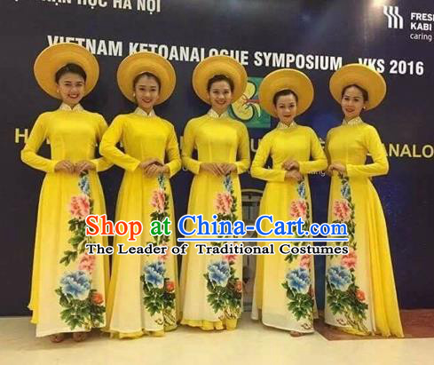 Traditional Top Grade Asian Vietnamese Costumes Classical Painting Cheongsam, Vietnam National Vietnamese Young Lady Bride Wedding Ao Dai Dress
