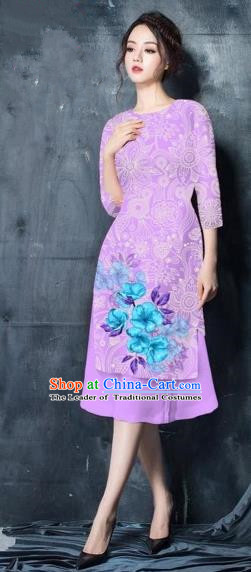 Traditional Top Grade Asian Vietnamese Costumes Classical Painting Short Purple Cheongsam, Vietnam National Vietnamese Young Lady Bride Wedding Ao Dai Dress