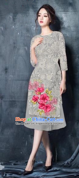 Traditional Top Grade Asian Vietnamese Costumes Classical Painting Short Grey Cheongsam, Vietnam National Vietnamese Young Lady Bride Wedding Ao Dai Dress