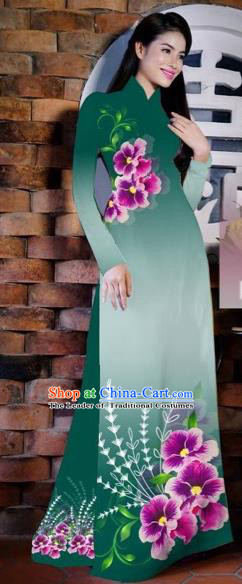 Traditional Top Grade Asian Vietnamese Costumes Classical Painting Flowers Green Cheongsam, Vietnam National Vietnamese Young Lady Bride Wedding Ao Dai Dress