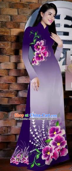 Traditional Top Grade Asian Vietnamese Costumes Classical Painting Flowers Purple Cheongsam, Vietnam National Vietnamese Young Lady Bride Wedding Ao Dai Dress