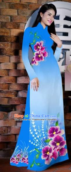 Traditional Top Grade Asian Vietnamese Costumes Classical Painting Flowers Blue Cheongsam, Vietnam National Vietnamese Young Lady Bride Wedding Ao Dai Dress