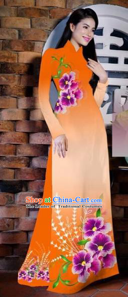 Traditional Top Grade Asian Vietnamese Costumes Classical Painting Flowers Orange Cheongsam, Vietnam National Vietnamese Young Lady Bride Wedding Ao Dai Dress