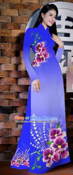 Traditional Top Grade Asian Vietnamese Costumes Classical Painting Flowers Deep Blue Cheongsam, Vietnam National Vietnamese Young Lady Bride Wedding Ao Dai Dress