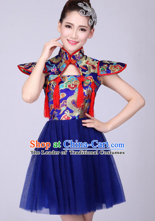 Top Grade Professional Performance Costume, China Drum Dance Chorus Fan Dance Dress Modern Dance Blue Veil Bubble Dress for Women