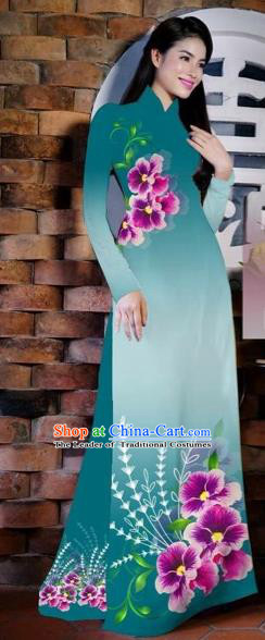 Traditional Top Grade Asian Vietnamese Costumes Classical Painting Flowers Peacock Blue Cheongsam, Vietnam National Vietnamese Young Lady Bride Wedding Ao Dai Dress