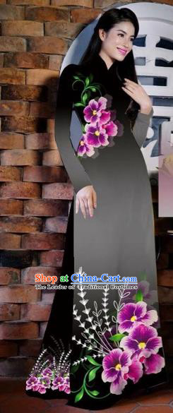 Traditional Top Grade Asian Vietnamese Costumes Classical Painting Flowers Black Cheongsam, Vietnam National Vietnamese Young Lady Bride Wedding Ao Dai Dress