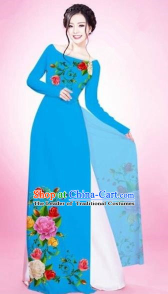 Traditional Top Grade Asian Vietnamese Costumes Classical Painting Flowers Blue Cheongsam, Vietnam National Vietnamese Young Lady Bride Wedding Round Collar Ao Dai Dress