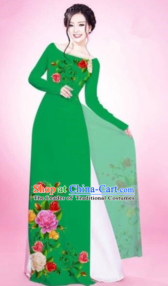 Traditional Top Grade Asian Vietnamese Costumes Classical Painting Flowers Green Cheongsam, Vietnam National Vietnamese Young Lady Bride Wedding Round Collar Ao Dai Dress