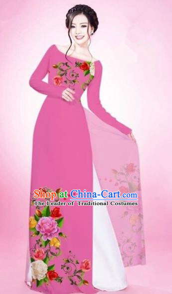 Traditional Top Grade Asian Vietnamese Costumes Classical Painting Flowers Pink Cheongsam, Vietnam National Vietnamese Young Lady Bride Wedding Round Collar Ao Dai Dress