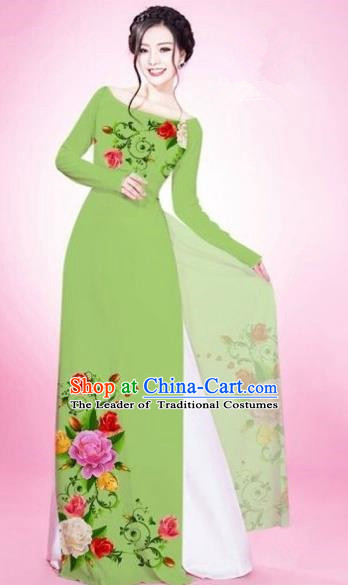 Traditional Top Grade Asian Vietnamese Costumes Classical Painting Flowers Grass Green Cheongsam, Vietnam National Vietnamese Young Lady Bride Wedding Round Collar Ao Dai Dress