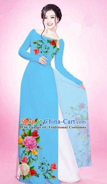 Traditional Top Grade Asian Vietnamese Costumes Classical Painting Flowers Light Blue Cheongsam, Vietnam National Vietnamese Young Lady Bride Wedding Round Collar Ao Dai Dress