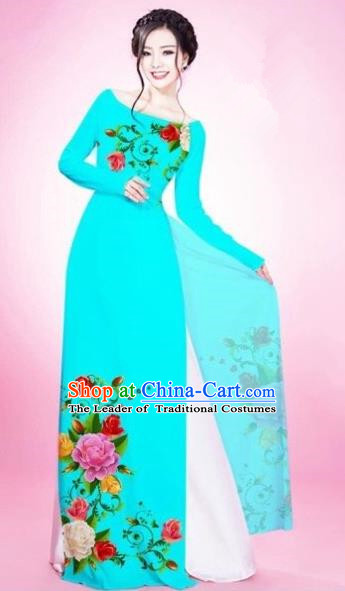 Traditional Top Grade Asian Vietnamese Costumes Classical Painting Flowers Blacklight Blue Cheongsam, Vietnam National Vietnamese Young Lady Bride Wedding Round Collar Ao Dai Dress
