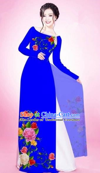 Traditional Top Grade Asian Vietnamese Costumes Classical Painting Flowers Royalblue Cheongsam, Vietnam National Vietnamese Young Lady Bride Wedding Round Collar Ao Dai Dress