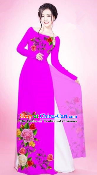 Traditional Top Grade Asian Vietnamese Costumes Classical Painting Flowers Rosy Cheongsam, Vietnam National Vietnamese Young Lady Bride Wedding Round Collar Ao Dai Dress