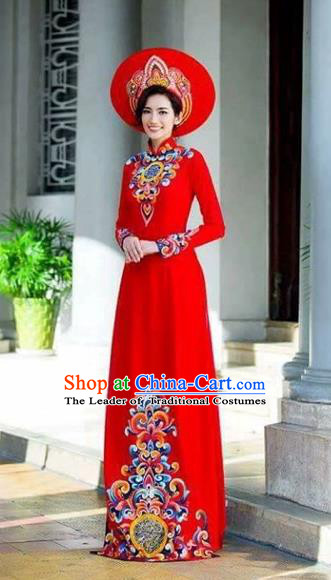 Traditional Top Grade Asian Vietnamese Costumes Classical Painting Wedding Cheongsam, Vietnam National Vietnamese Young Lady Bride Stand Collar Red Ao Dai Dress