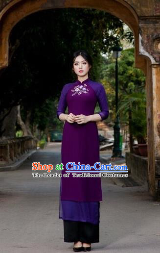Traditional Top Grade Asian Vietnamese Costumes Classical Painting Wedding Cheongsam, Vietnam National Vietnamese Young Lady Bride Stand Collar Purple Ao Dai Dress