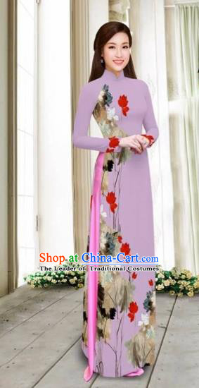 Traditional Top Grade Asian Vietnamese Costumes Classical Printing Cheongsam, Vietnam National Vietnamese Young Lady Violet Chiffon Ao Dai Dress