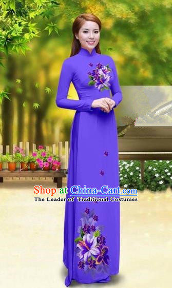 Traditional Top Grade Asian Vietnamese Costumes Classical Printing Greenish Lily Flower Cheongsam, Vietnam National Vietnamese Young Lady Pinkish Purple Chiffon Ao Dai Dress