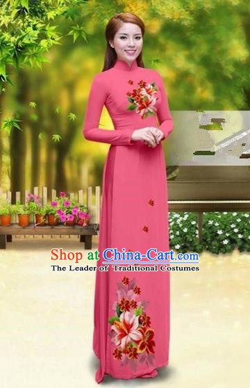 Traditional Top Grade Asian Vietnamese Costumes Classical Printing Greenish Lily Flower Cheongsam, Vietnam National Vietnamese Young Lady Watermelon Red Chiffon Ao Dai Dress